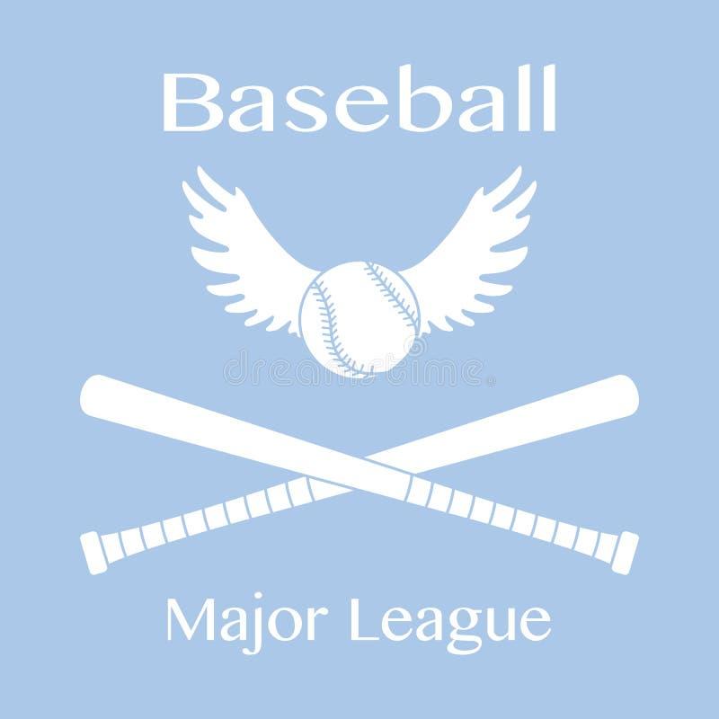 Battes de baseball, boule avec l'illustration de vecteur d'ailes illustration stock