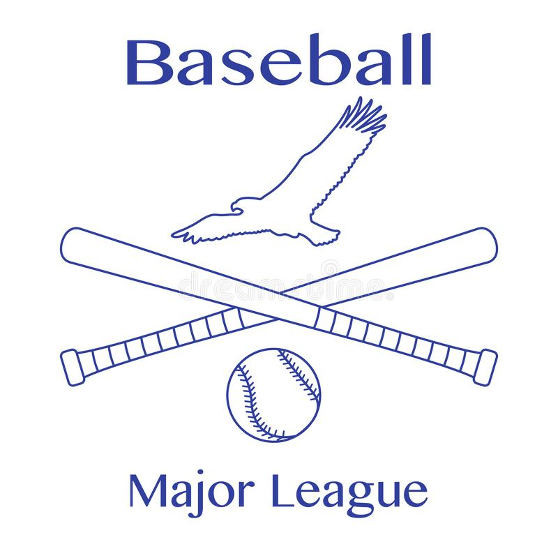 Battes de baseball, boule et aigle Illustration de vecteur illustration de vecteur