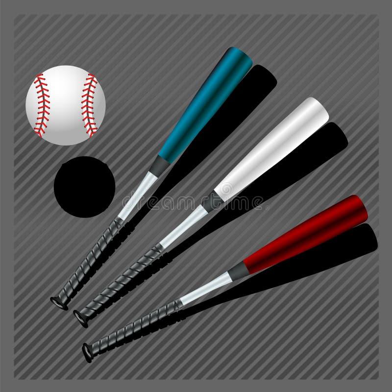 Battes de baseball et bille illustration de vecteur
