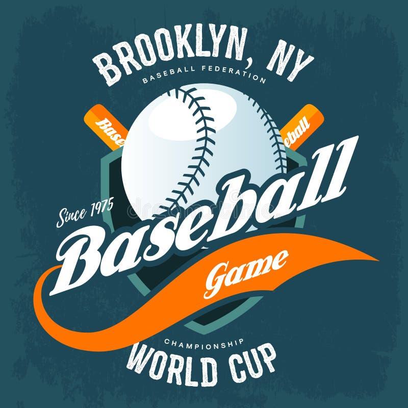 Battes derrière la boule de base-ball sur le logo de T-shirt de bouclier illustration de vecteur
