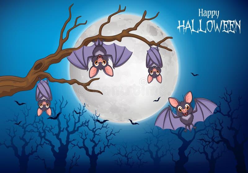 Battes drôles de bande dessinée accrochant sur l'arbre avec le fond de Halloween illustration libre de droits