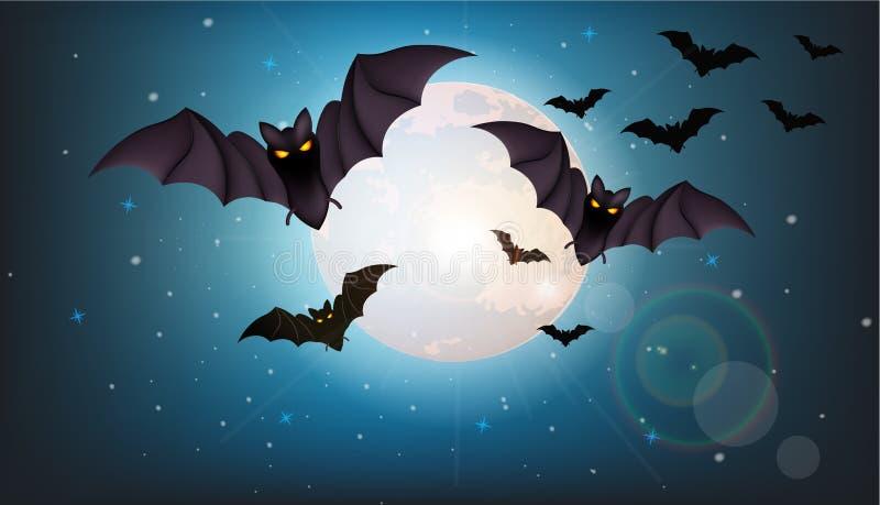 Battes volant au vecteur de nuit Pleine lune Concepts de Halloween illustration stock