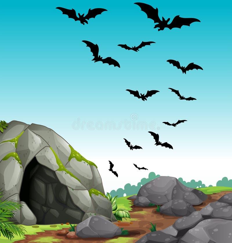 Battes volant hors de la caverne illustration stock