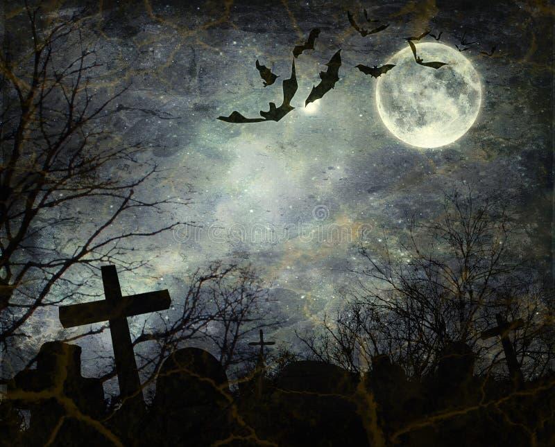 Battes volant pendant la nuit illustration de vecteur