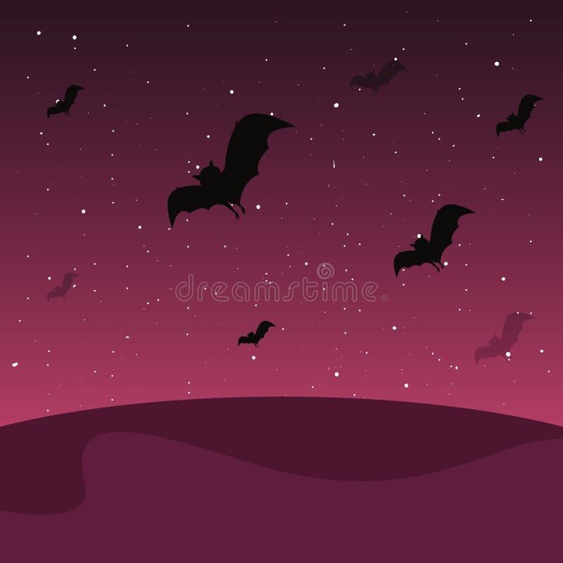 Battes volantes dans le paysage de nuit illustration de vecteur