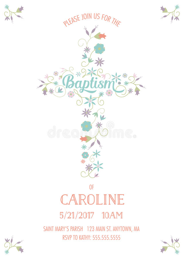 Battesimo, battesimo, comunione - modello religioso della carta di occasione royalty illustrazione gratis