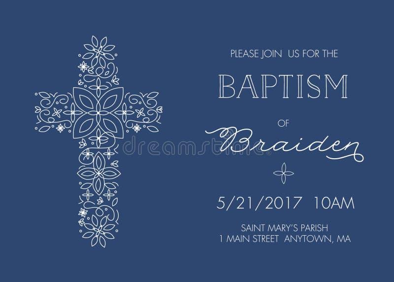 Battesimo, battezzante il modello dell'invito con progettazione trasversale decorata - vettore royalty illustrazione gratis