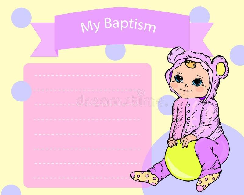 Battesimo, battezzante la carta dell'invito illustrazione di stock