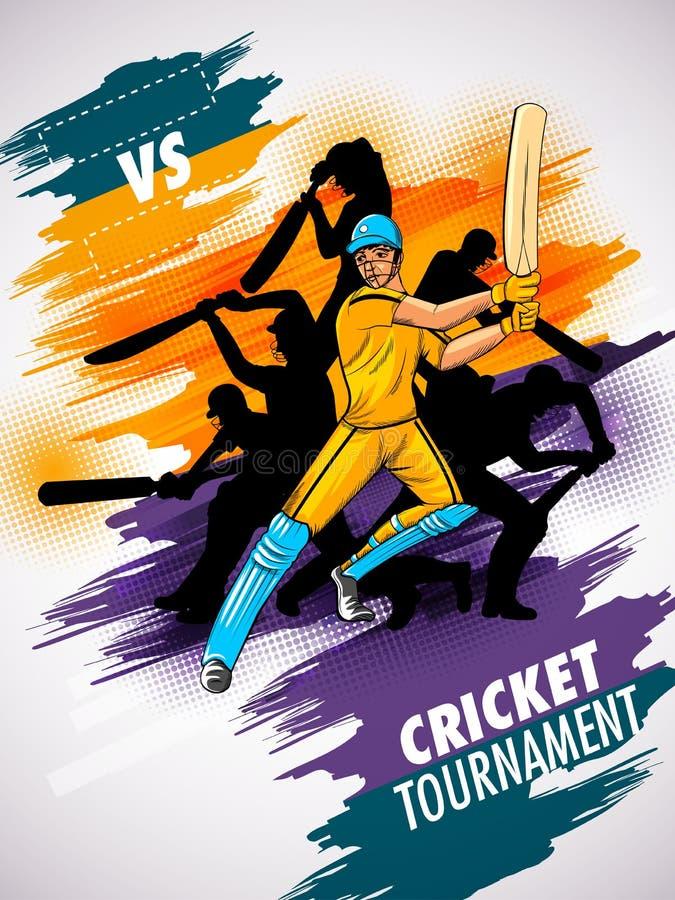 Batteur de joueur à l'arrière-plan de tournoi de championnat de cricket illustration stock
