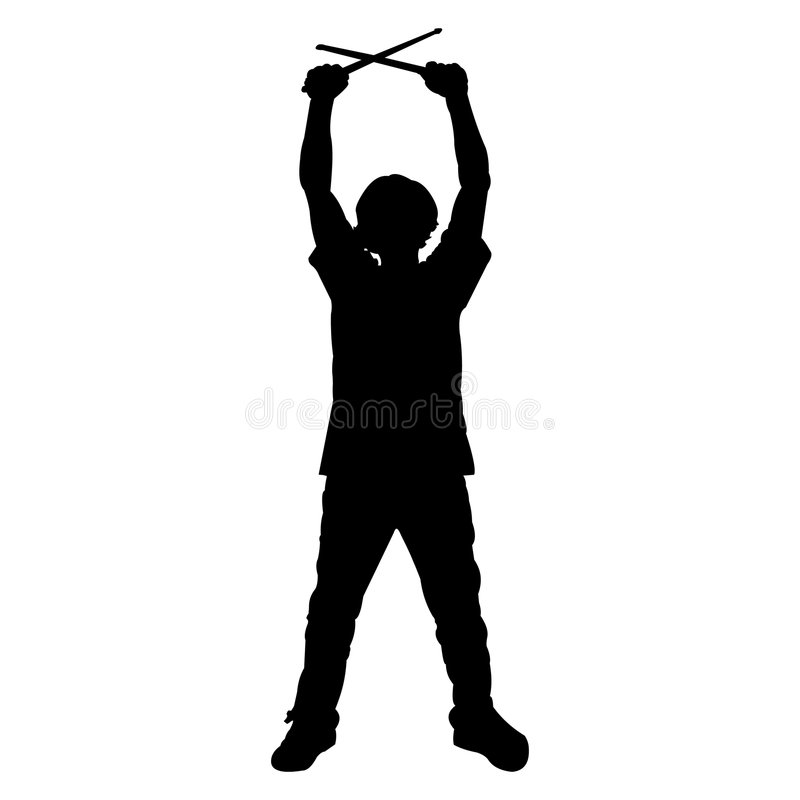 Batteur de l'adolescence - silhouette illustration de vecteur