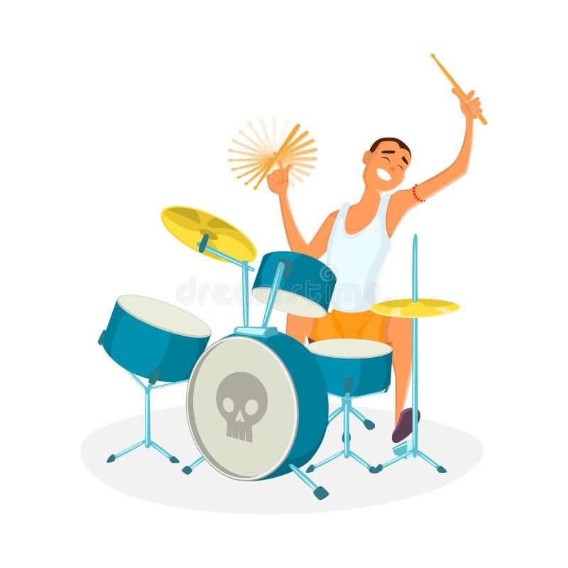Batteur jouant des tambours illustration de vecteur