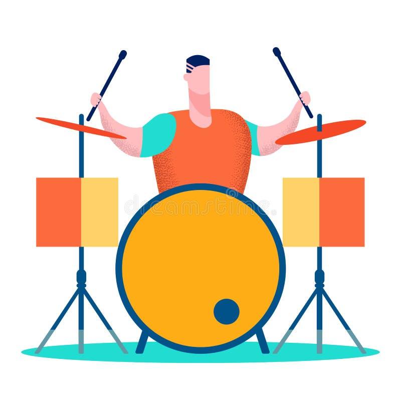Batteur professionnel, musicien Flat Illustration illustration de vecteur
