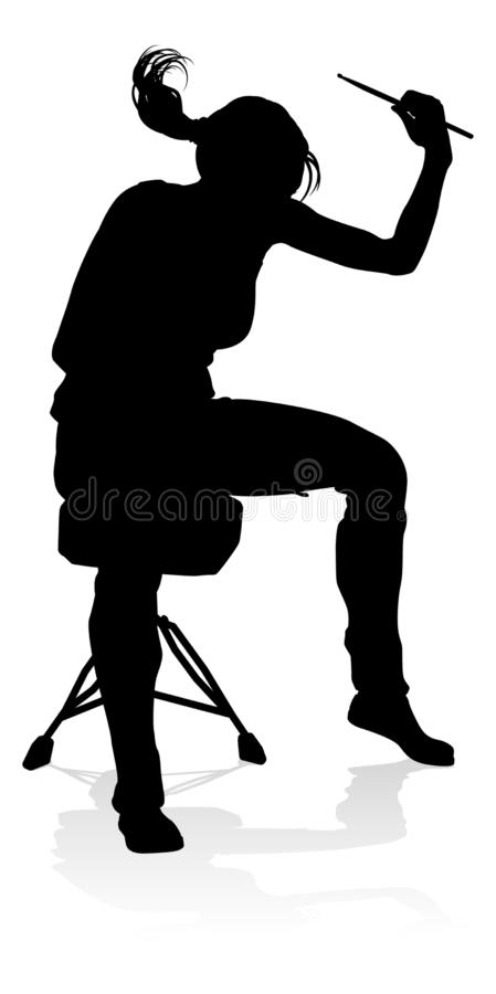 Batteur Silhouette de musicien illustration libre de droits