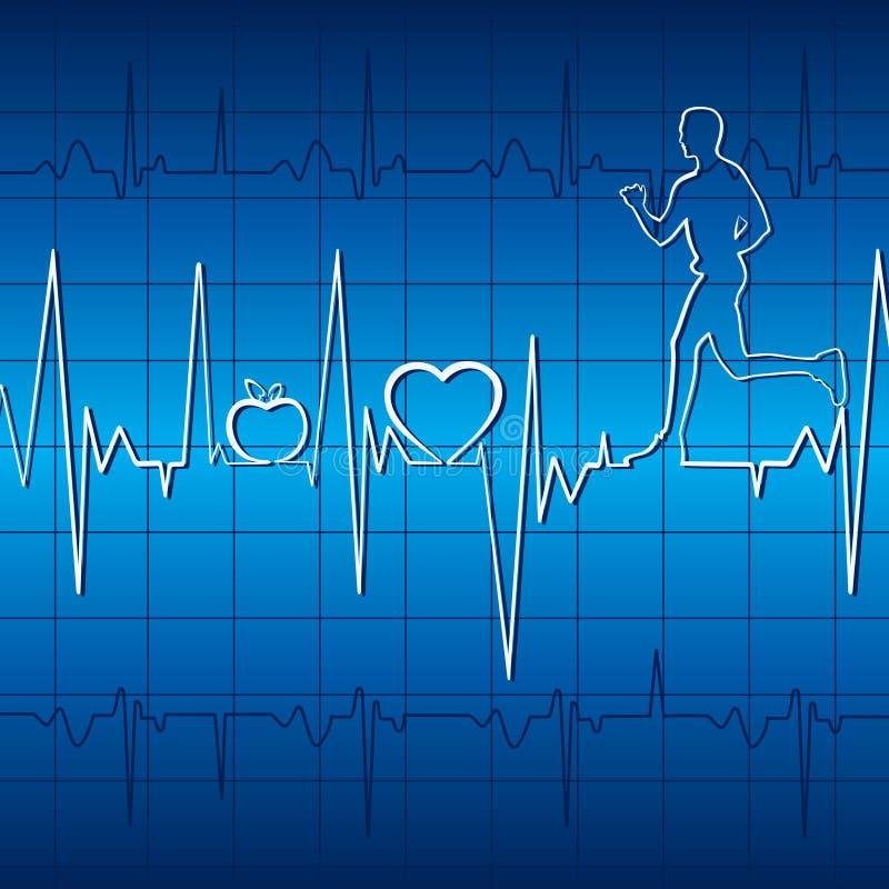 Battimento di cuore con la mela, il cuore e gli uomini correnti nel grafico illustrazione vettoriale