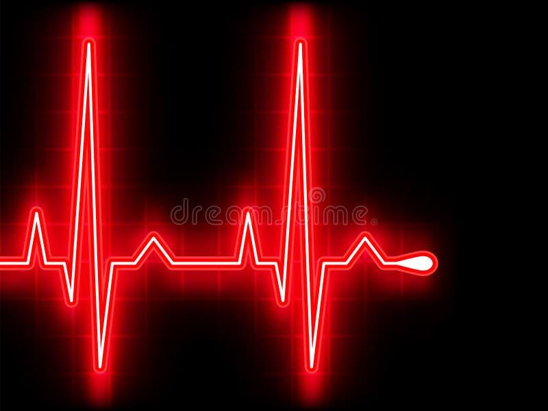 Battimento di cuore rosso. Grafico di Ekg. ENV 8 illustrazione vettoriale