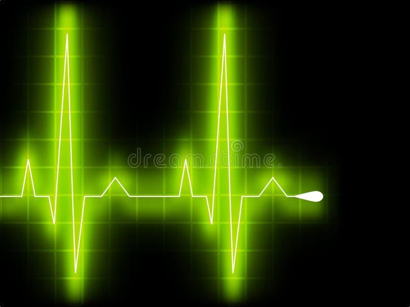 Battimento di cuore verde. Grafico di Ekg. ENV 8 illustrazione di stock