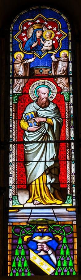 Battistero Cathedr di Thadeus Jude Apostle Mary Stained Glass del san fotografie stock libere da diritti