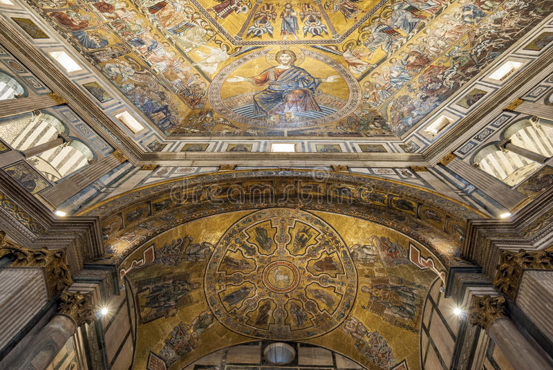 Battistero di San Giovanni or Baptistery of Saint John the Baptist, Mosaic-decorated dome interior in Florence, Italy. The mosaic ceiling in the Battistero di stock image