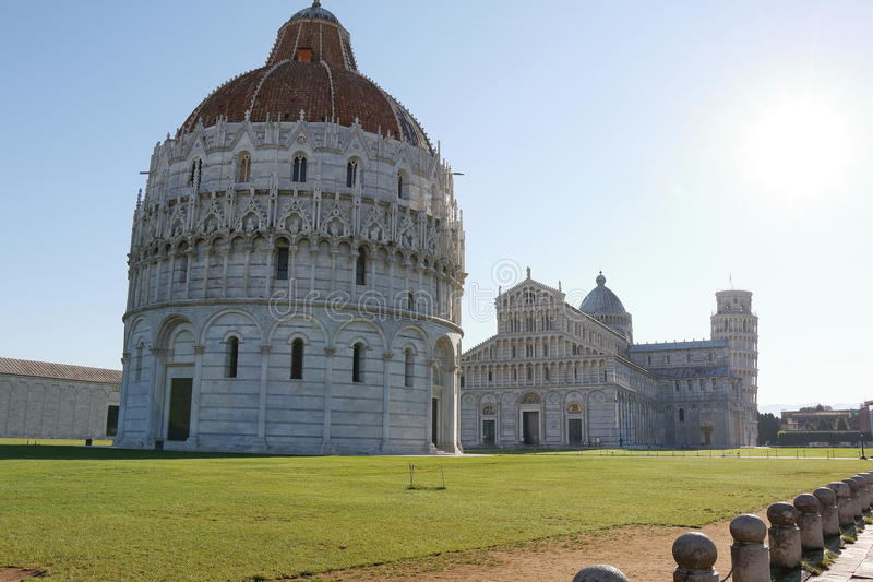 Battistero di San Giovanni and Cattedrale di Pisa. Italy. Battistero di San Giovanni, Cattedrale di Pisa and Torre di Pisa Leaning Tower of Pisa royalty free stock photos