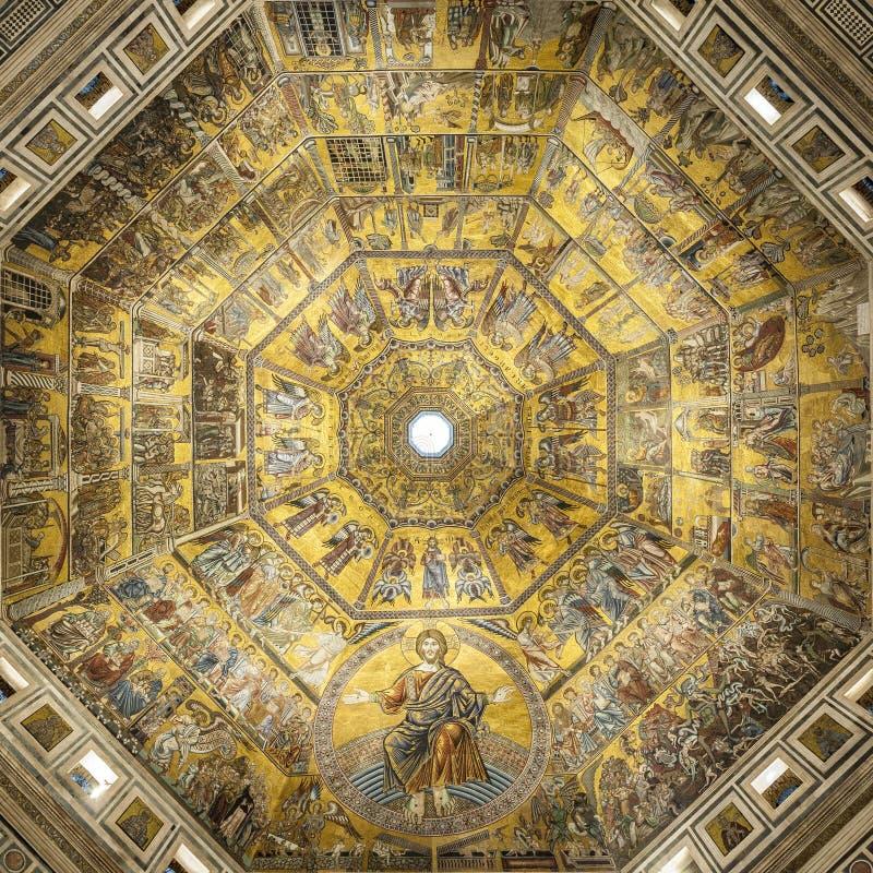 Battistero Di San Giovanni lub Baptistery święty John baptysta, Dekorujący kopuły wnętrze w Florencja, Włochy zdjęcia stock