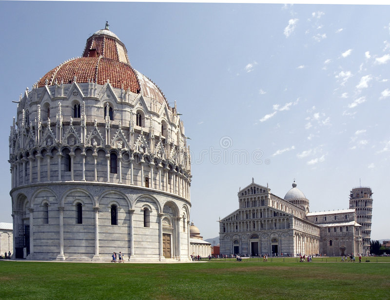 Battistero, Duomo & La Torre Pisa. The Battistero, cathedral and leaning tower of Pisa stock photo