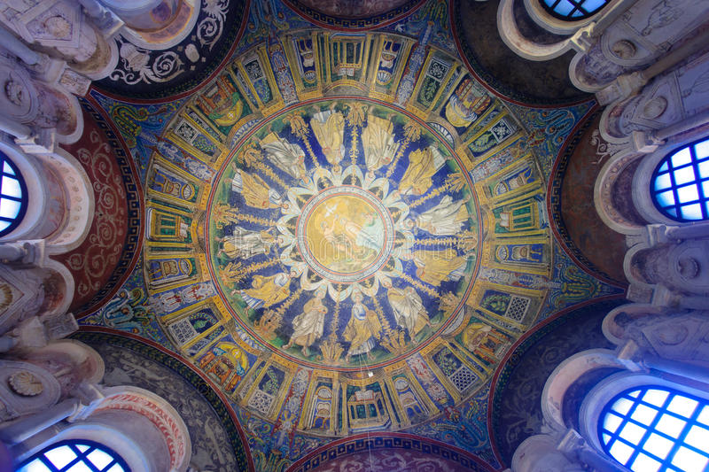 Battistero Neoniano, Ravenna. RAVENNA, ITALY - JAN 18, 2015: The ceiling mosaic in the Baptistery of Neon (Battistero Neoniano) in Ravenna, Emilia-Romagna, Italy stock photos
