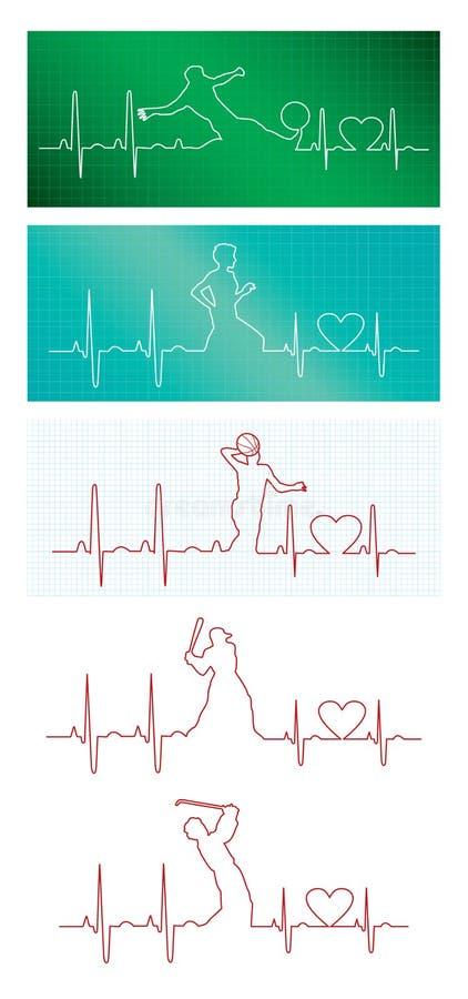 Battiti cardiaci degli sport illustrazione di stock
