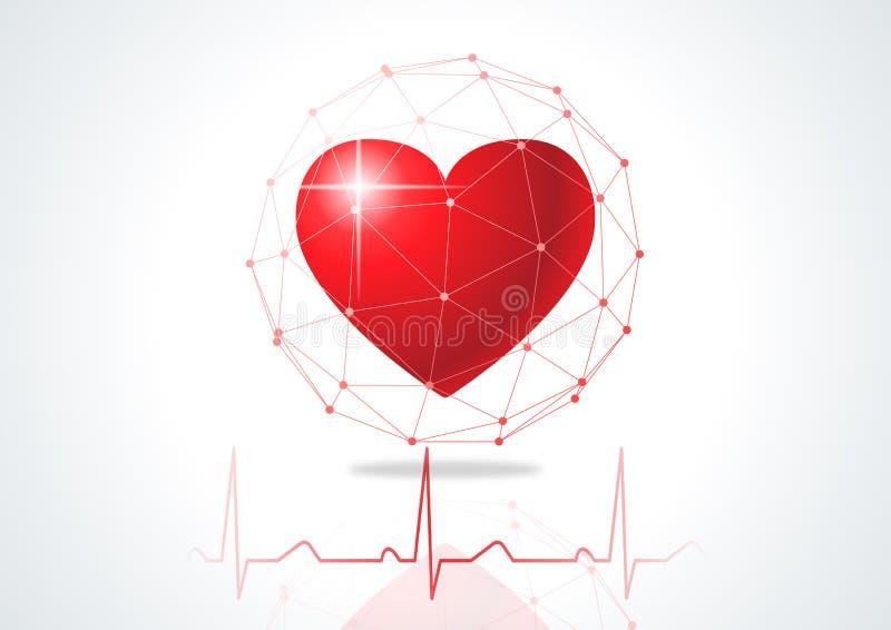 Battito cardiaco o impulso di frequenza cardiaca illustrazione di stock