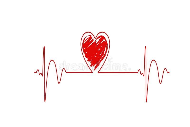 Battito cardiaco rosso, linea di frequenza cardiaca, concetto della medicina, progettazione dell'illustrazione immagini stock libere da diritti