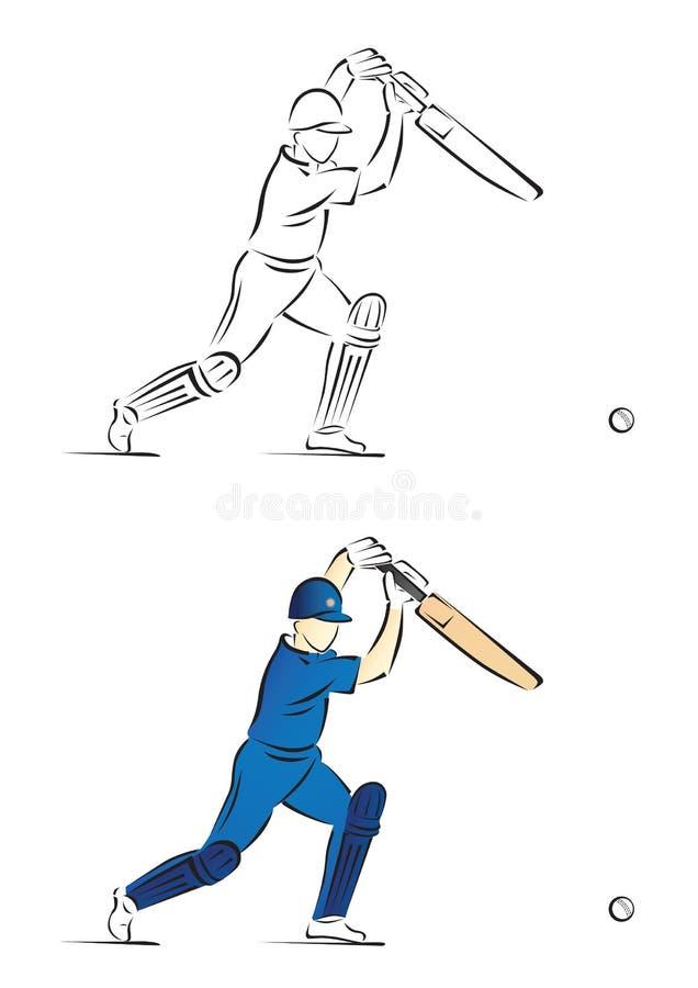 Battitore del cricket che gioca un colpo - illustrazione di vettore fotografia stock libera da diritti