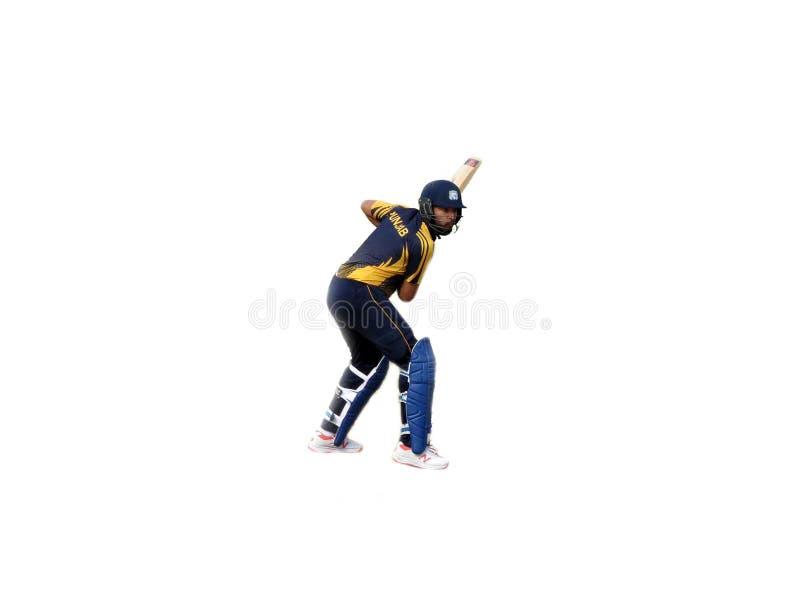 Battitori sul fondo-cricket bianco isolato immagini stock