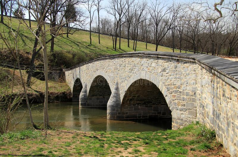Burnside Bridge. At the Battle of Antietam, the Burnside Bridge was fiercely defended by Confederates against Union troops commanded by Gen. Ambrose Burnside royalty free stock image