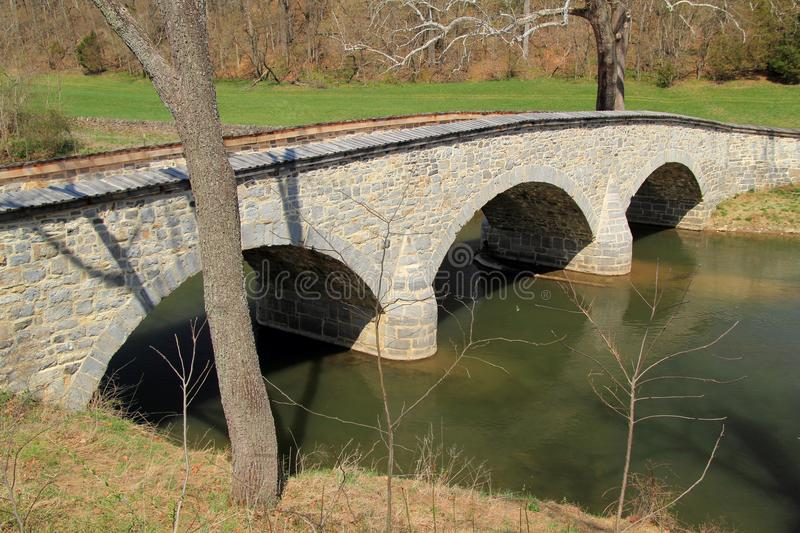 Burnside Bridge. At the Battle of Antietam, the Burnside Bridge was fiercely defended by Confederates against Union troops commanded by Gen. Ambrose Burnside royalty free stock photos