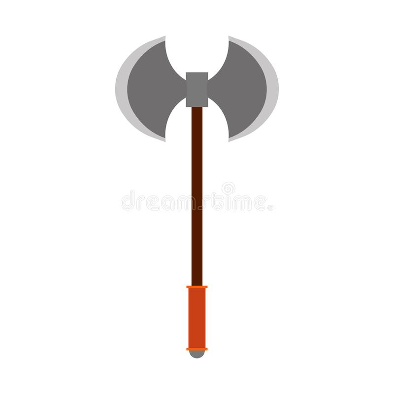 Battle axe vector icon weapon blade. Ancient isolated white viking warrior symbol. Barbarian fantasy game equipment vector illustration
