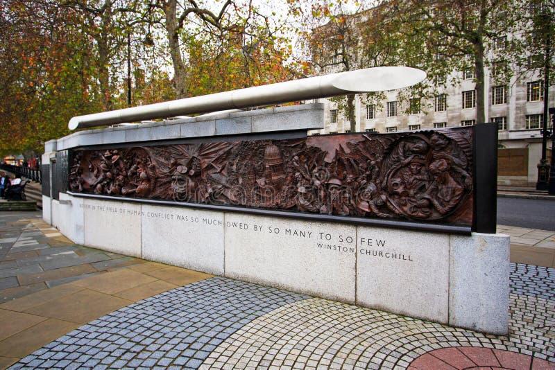 Battle of Britain Memorial, London UK. Bronze sculpture Battle of Britain, London UK stock photography