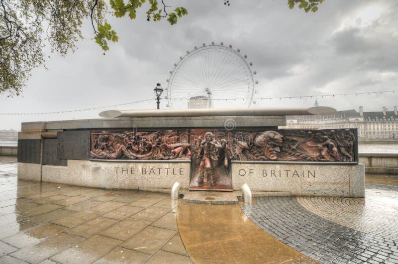 Battle of Britain Memorial, London, United Kingdom. The Battle of Britain Memorial next to Thames River in London, UK. 25m-long bronze monument commemorating the stock images
