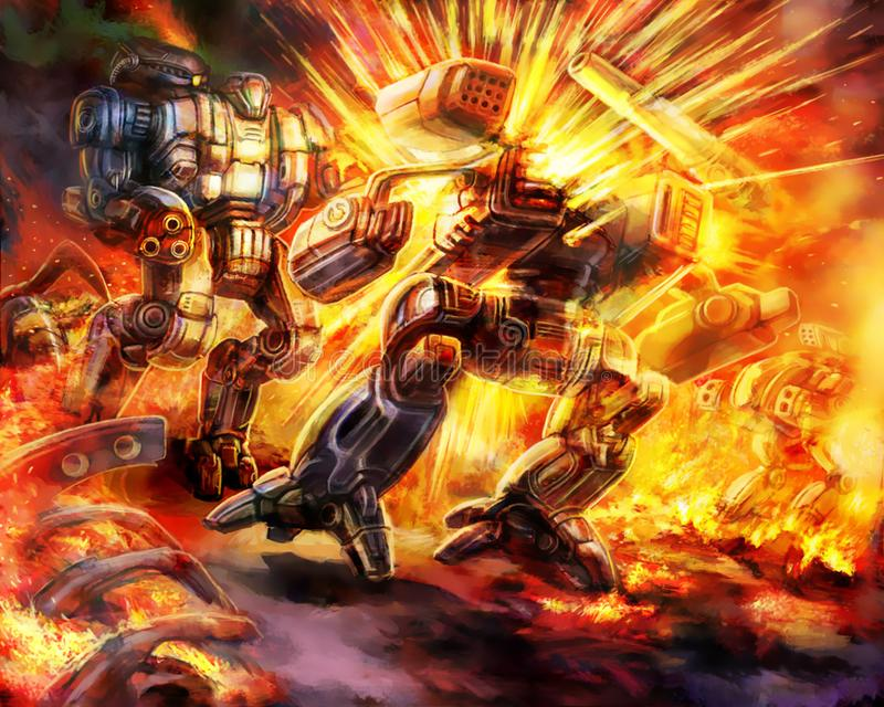Battle of combat robots. Science fiction illustration. Original military characters royalty free illustration