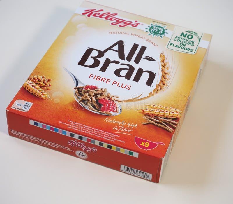 BATTLE CREEK - AUG 2019: Kellogg's all bran fibre plus. BATTLE CREEK, USA - CIRCA AUGUST 2019: Kellogg's all bran royalty free stock images
