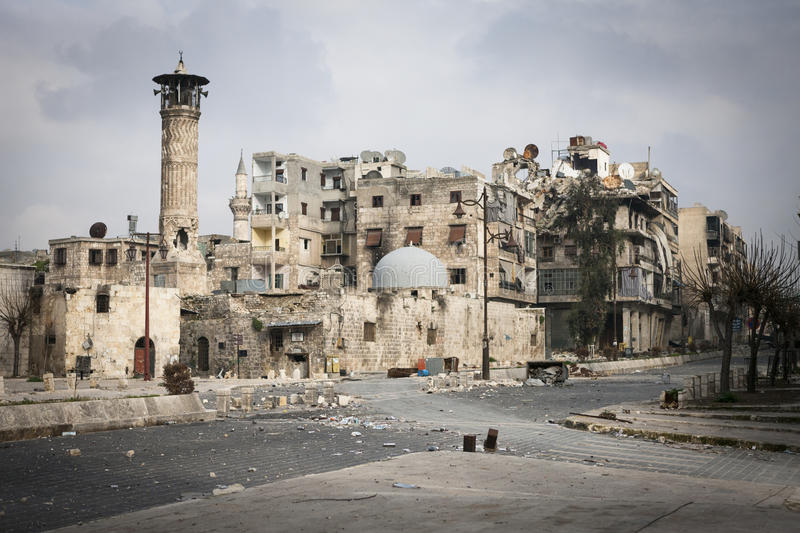 Battle damaged mosque Aleppo. royalty free stock images
