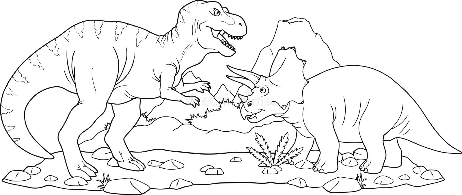 Battle dinosaurs. Dinosaurs are preparing to fight royalty free illustration