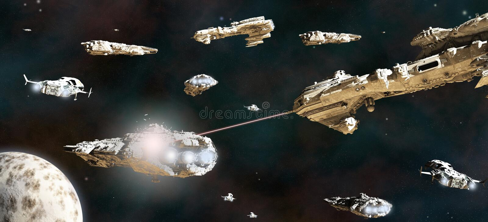 Download Battle Fleet in Action stock illustration. Image of sci - 27353675
