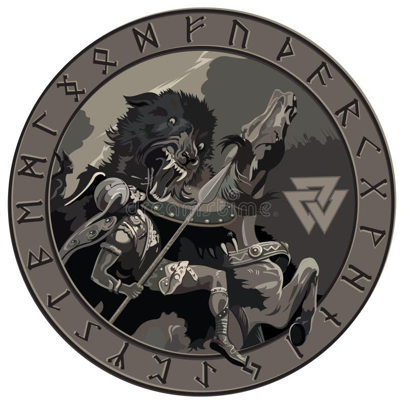 Battle of the God Odin with the wolf Fenrir. Illustration of Norse mythology. Isolated on white, vector illustration vector illustration