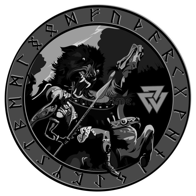 Battle of the God Odin with the wolf Fenrir. Illustration of Norse mythology. Isolated on white, vector illustration royalty free illustration