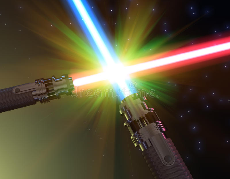 Download Battle with light sabers stock illustration. Image of arms - 16519381