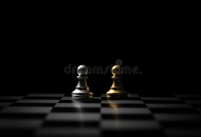 Battle on the chess board stock photo
