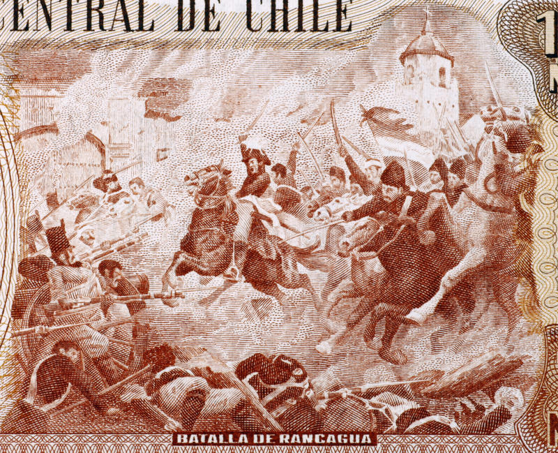 Battle of Rancagua. On 10000 Escudos 1970 from Chile stock photography