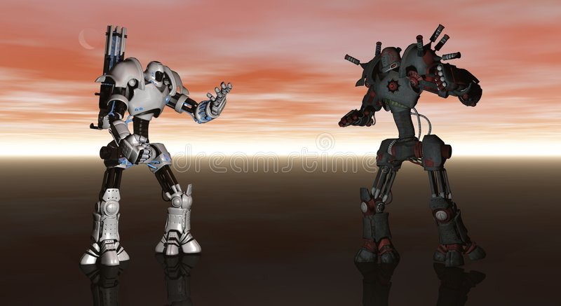 Battle Robots. Cgi render of battle robots royalty free illustration