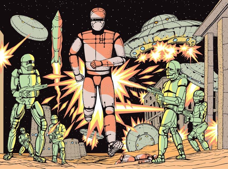 Battle robots royalty free illustration