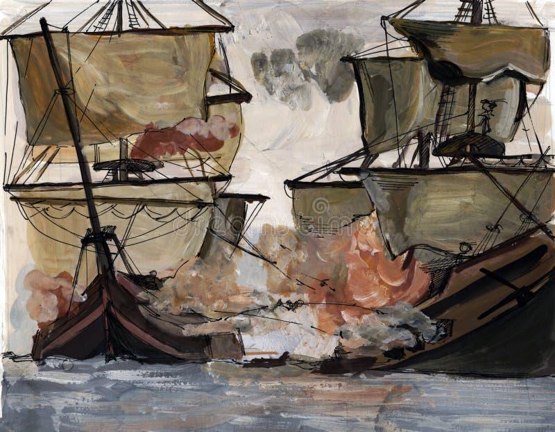 Battle on sea vector illustration