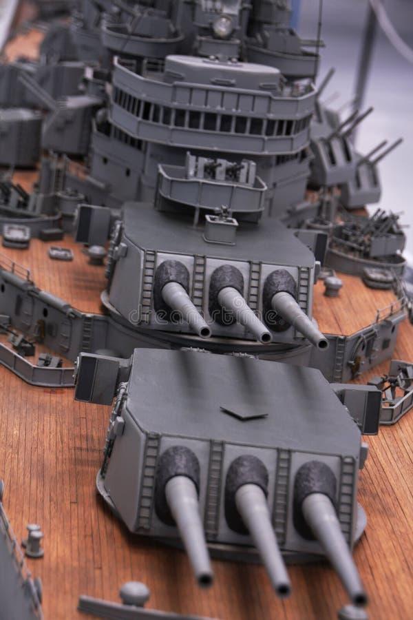 Battle ship. Close up of a miniature battle ship stock photos